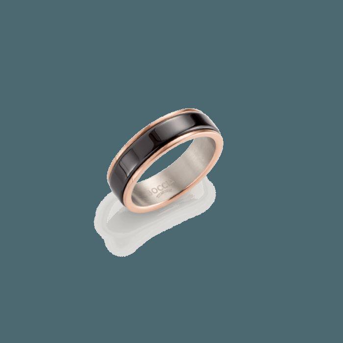 RING Reintitan poliert roségoldplattiert Ceramic schwarz 5,5 mm von: Boccia #Schmuck #Ring