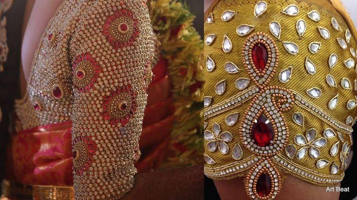 Kundan Stone Work Blouse Designs For Silk Sarees