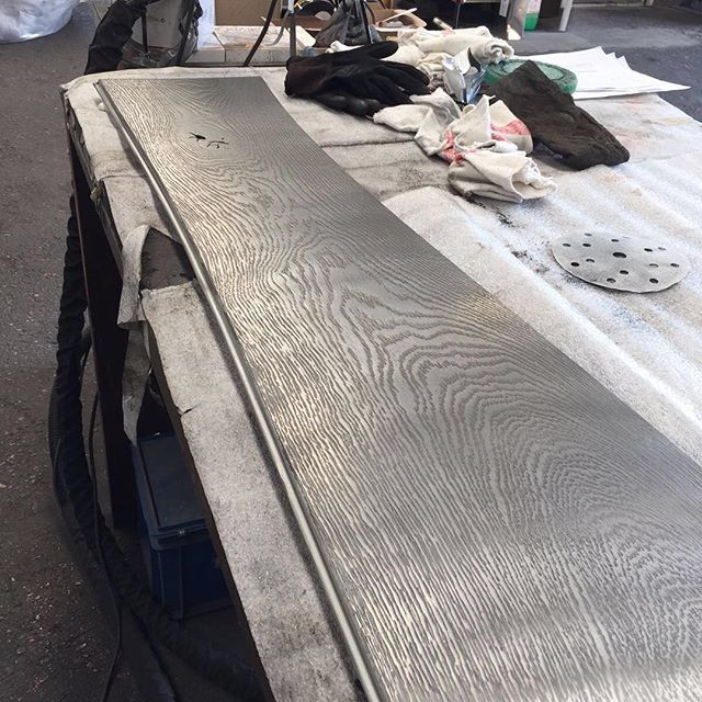 Work in progress. Real metal coating on our organic Bolefloor…