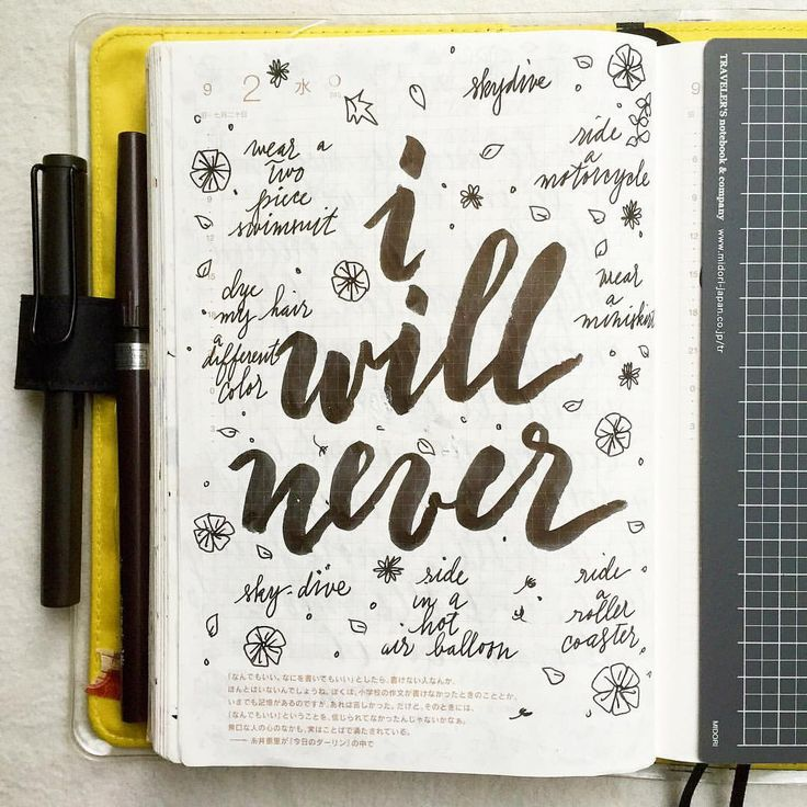 I know they say to never say never, but I'm 100% certain I will never do these things… #journal #artjournal #hobonichi #planner #diary #notebook #filofax #mtn #midori #travelersnotebook #midoritravelersnotebook #scrapbooking #stationery #pens #doodles #doodling #type #typography #letters #lettering #handwriting #handlettering #calligraphy #moderncalligraphy #brushpens #brushlettering