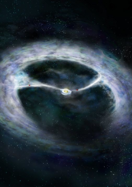 Astronomers using the Atacama Large Millimeter/submillimeter Array (ALMA) telescope have observed the growth of a young star and its planets. The HD142527 system is located about 450 light-years from Earth. An artist's conception of HD142527 system is pictured above.
