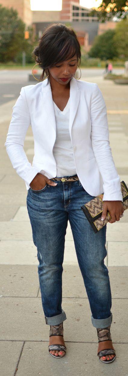 White Blazer & Boyfriend Jeans by Sweenee Style