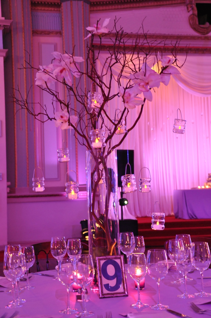 Manzanita & votives. #wedding #decor