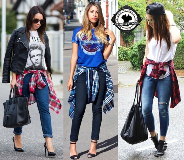 Latest '90s Trend: How to Wear Plaid Shirts Tied Around the Waist