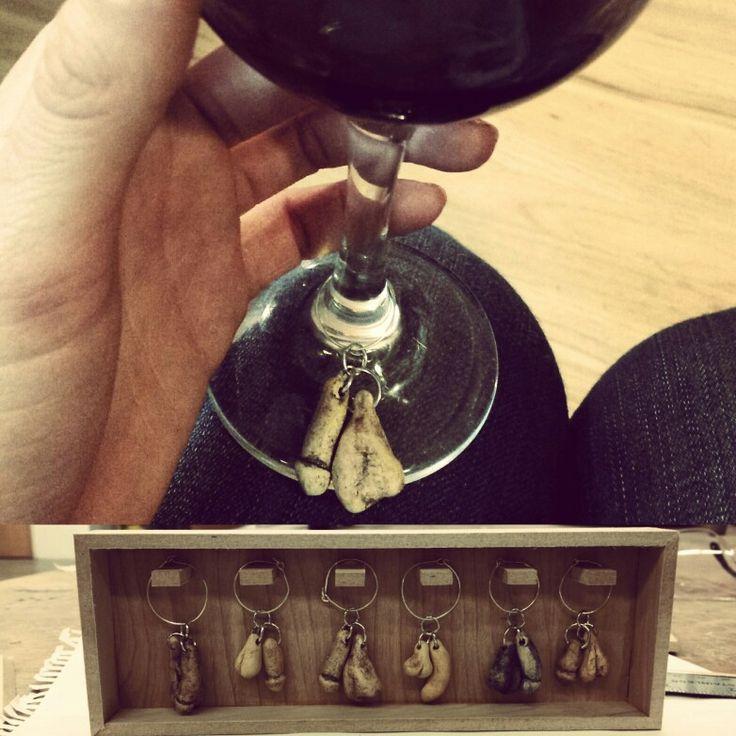 KSmith cock and ball wine charms