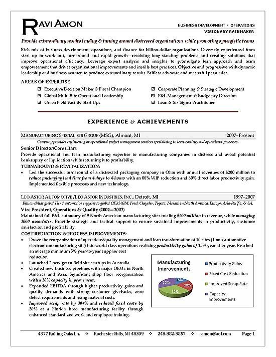 business operations executive resume example - Professional Resume Services