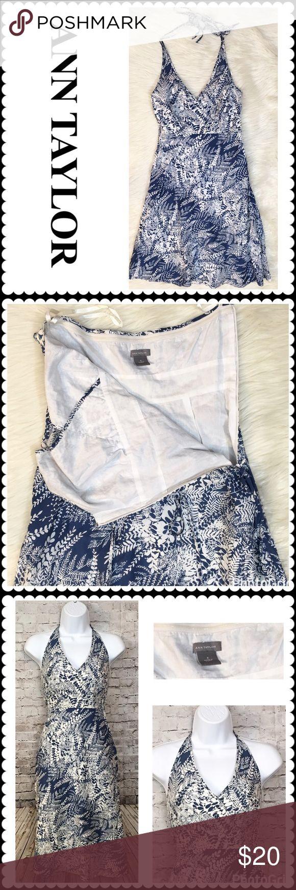 ANN TAYLOR Blue/White Print Halter Sundress Sz 0 Beautiful Blue and white print sundress by Ann Taylor. Halter style. Ties around neck. Hidden side zipper for entry. Fully lined. Size 0 Ann Taylor Dresses Midi