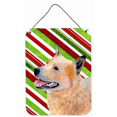 Caroline's Treasures Australian Cattle Dog Candy Cane Holiday Christmas by Lyn Cook Graphic Art Plaque