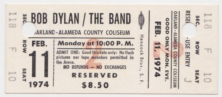 Bob Dylan & The Band - Unused 1974 Oakland Concert Ticket | Recordmecca