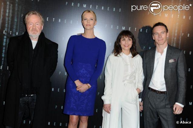 Ridley Scott, Charlize Theron, Noomi Rapace & Michael Fassbender @ Présentation de Prometheus, Paris