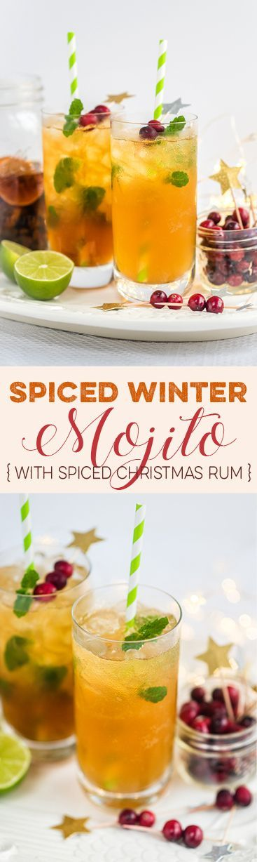 This Spiced Winter Mojito Needs to Become Your Signature Festive Cocktail! Plus make your own Christmas rum and gingerbread syrup - perfect for gifting.