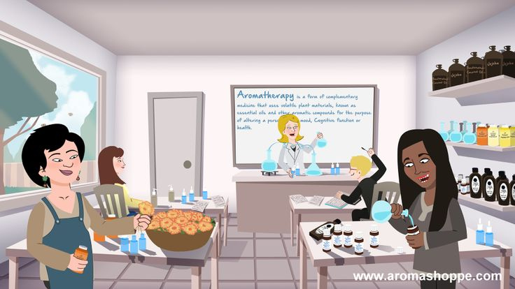 Illustration of an Aromatherapy theory class at The Aroma Shoppe.