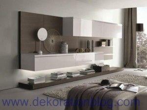 einrichtungsideen-wohnzimmer-modern-wohnwand-lack-holz-led-leisten ... - Einrichtungsideen Wohnzimmer Modern
