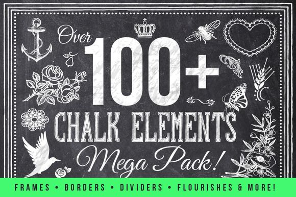 Check out 100 Chalk Elements Mega Bundle by Domo Designs on Creative Market