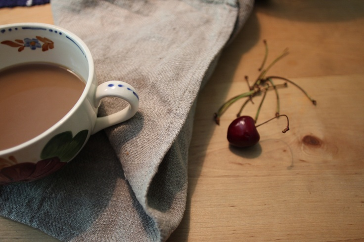 Table, coffee and cherries