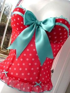 Corset -Red with white polka dot and turquoise trim