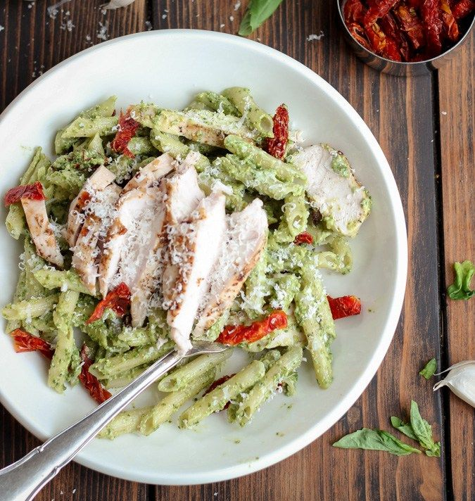 Creamy Pesto Pasta with Chicken & Sun-Dried Tomatoes - a quick and easy 30 minute recipe with a creamy pesto sauce, chicken, sun dried tomatoes & parmesan. So delish! | passmesometasty.com