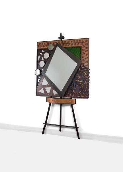 André dubreuil né en 1951 spectaculaire console miroir lumineux pièce unique