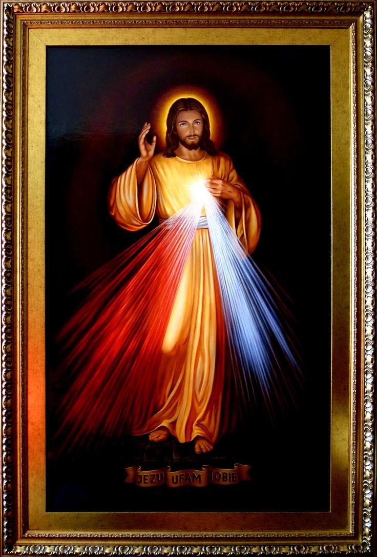 Miłosierdzie Boże, Jezu Ufam Tobie, Tryptyk, Jezu Ufam Tobie - fragment 2,  150cm x 90cm,  Obraz olejny na płótnie