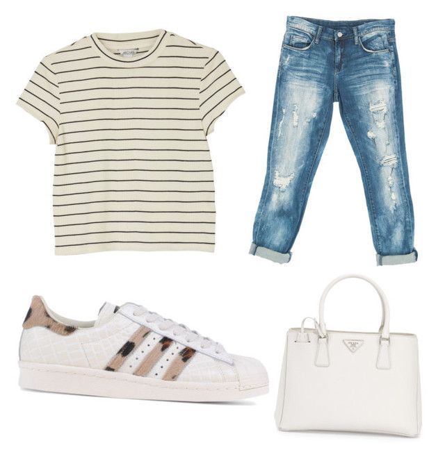 """Casual"" by mariimolly ❤ liked on Polyvore featuring Monki, Sans Souci, adidas Originals and Prada"