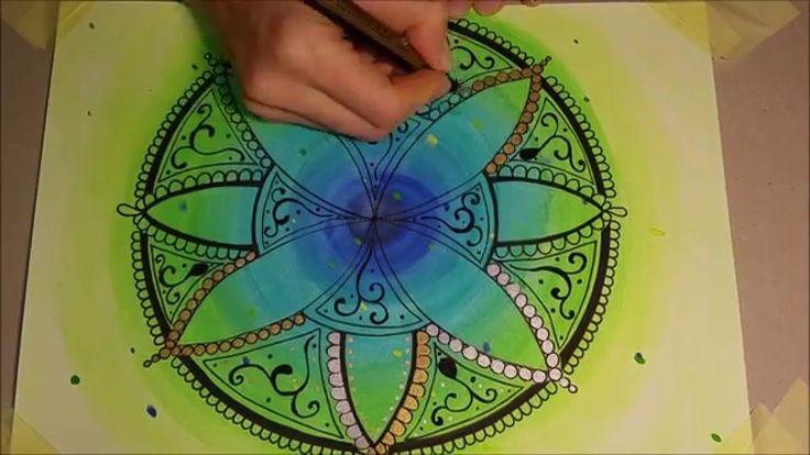 How to draw mandala - WATERCOLOUR (1) - Jak narysować mandalę FARBY AKWA...