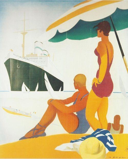 "Affiche publicitaire italienne, Crociere Estive ""Conte Verde"", artiste inconnu, 1932"