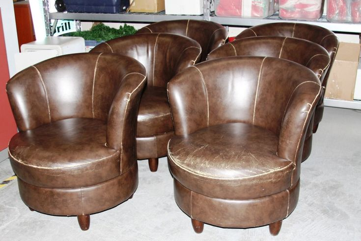 Man Cave Furniture For Sale : These brown leather barrel chairs will look great in the
