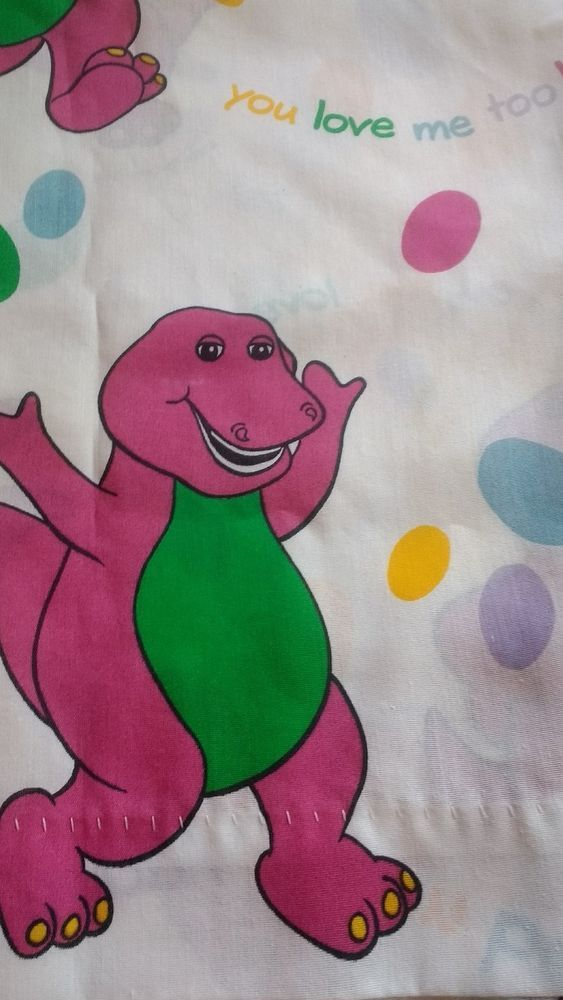 "Barney the Dinosaur Curtain Cartoon 1992 40""x64"" lot of 4 panels #TheLyonsGroup #Novelty"