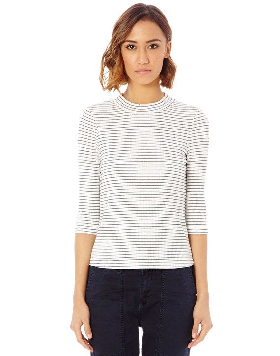Stripe Funnel Neck Top