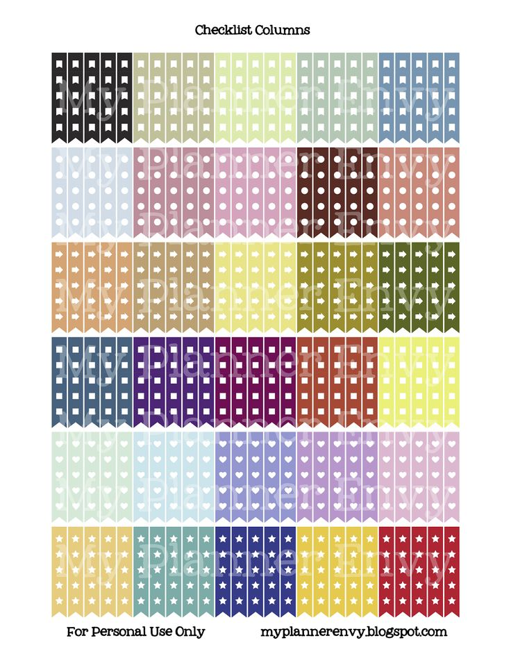 Checklist Columns - Free Planner Printable Stickers - My Planner Envy