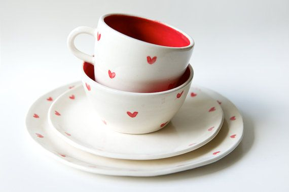 Dinnerware Set in White and Red Heart- 4 pieces- Handmade Ceramics by RossLab