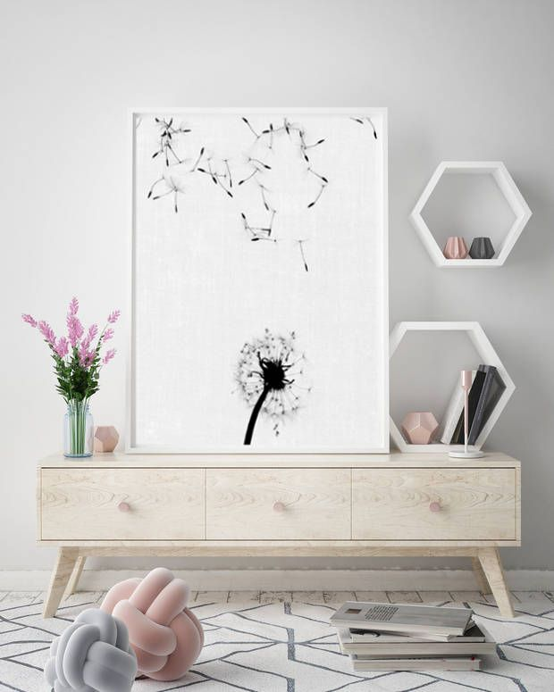 dandelion wall art, black and white prints, floral photography, minimalist poster, scandinavian printable art, instant digital download di AlemiPrints su Etsy