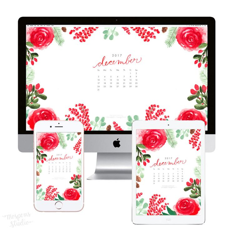 Watercolor December Blooms calendar wallpaper for…