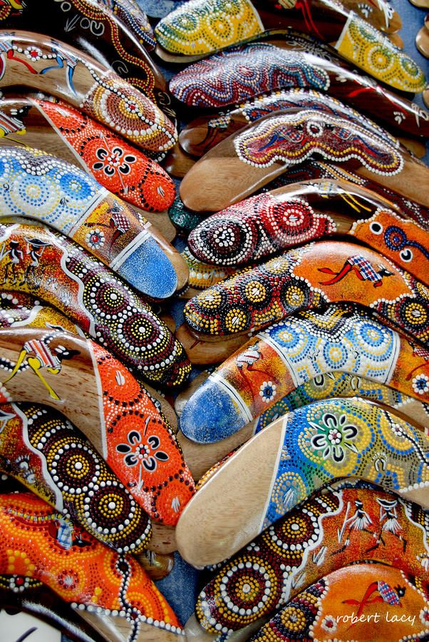 Boomerangs from Australia. Works of art.