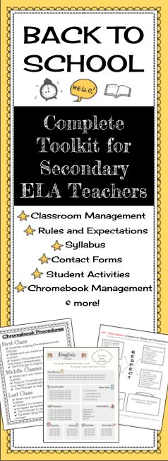 Everything secondary ELA teachers need for a smooth Back to School! Resources include: syllabus, rules and procedures, contact forms, student first day of school activities, classroom management tools, Chromebook management tools, student survey, & more.