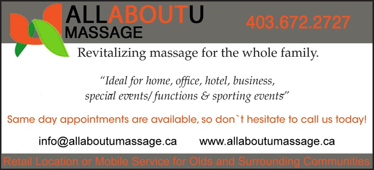 All About U Massage updated logo and changes to there banner!  Check them out - www.allaboutumassage.ca.