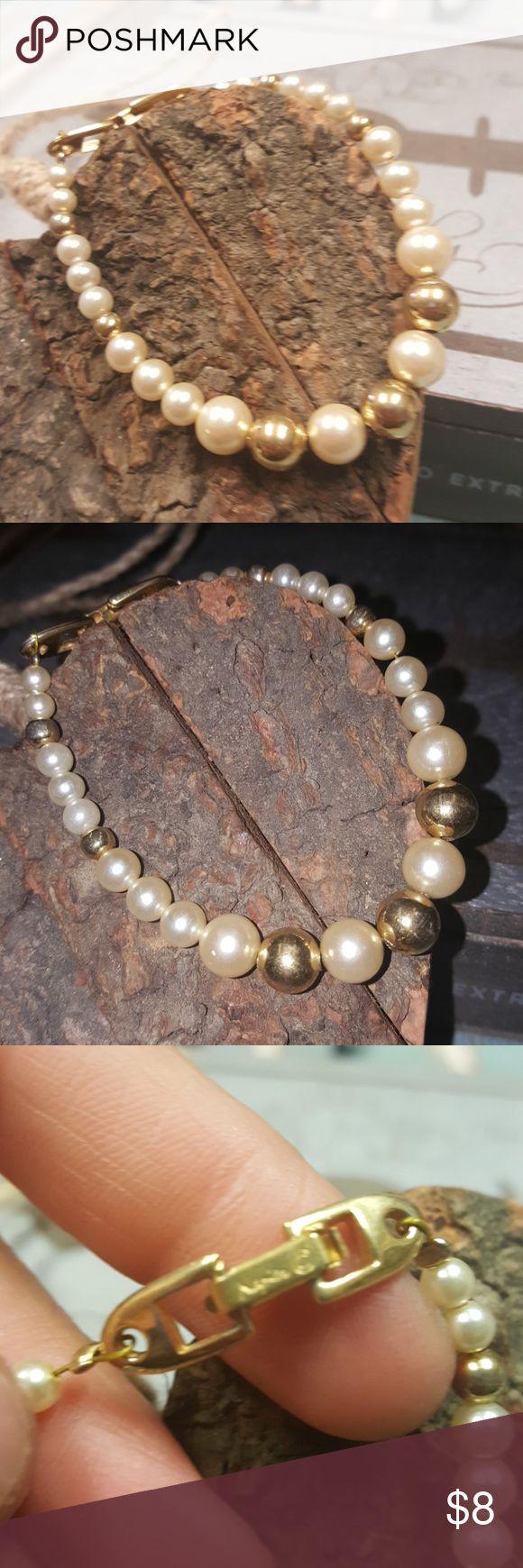 Vintage Napier Goldtone Faux Pearl Bracelet Vintage Napier Goldtone Faux Pearl Bracelet Napier Jewelry Bracelets
