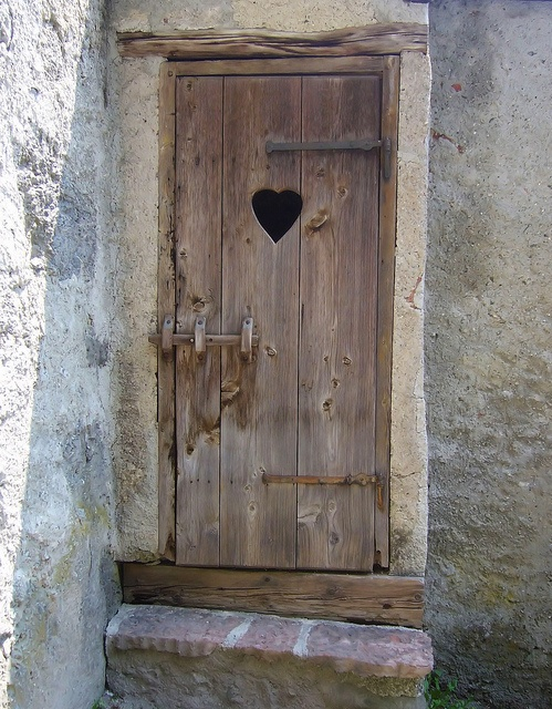 Wooden Door Heart Window