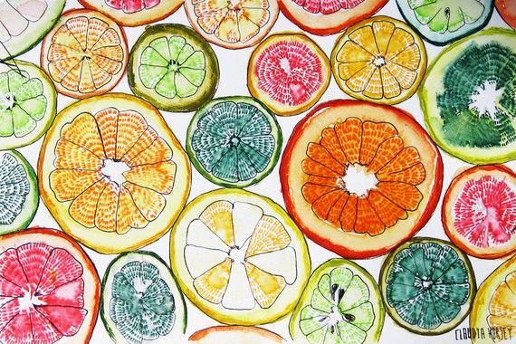 watercolor citrus-love this