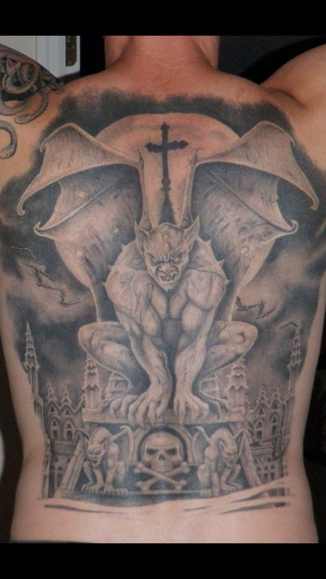 Awesome idea of gargoyle tattoo on whole back