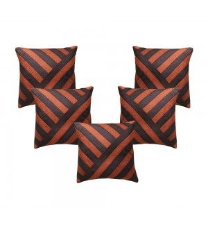 Striped Brown Cushion Cover (Set of 5 Pcs)