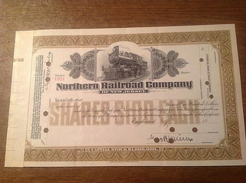 Stock/Bond: 1900S Northern Railroad Company Of New Jersey Stock Certificate