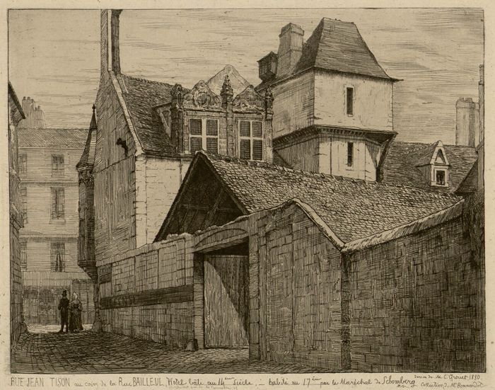 Rue jean tison au coin de la rue bailleul h tel b ti au for Architecture 17eme siecle