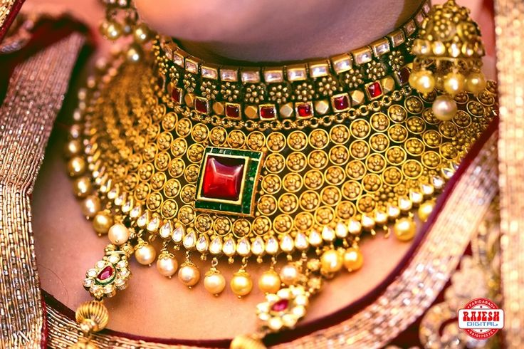 Gold Choker with Ruby and Emerald Pendants More