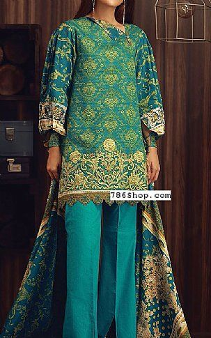 Teal Blue Linen Suit | Buy Orient Pakistani Dresses and Clothing online in USA, UK