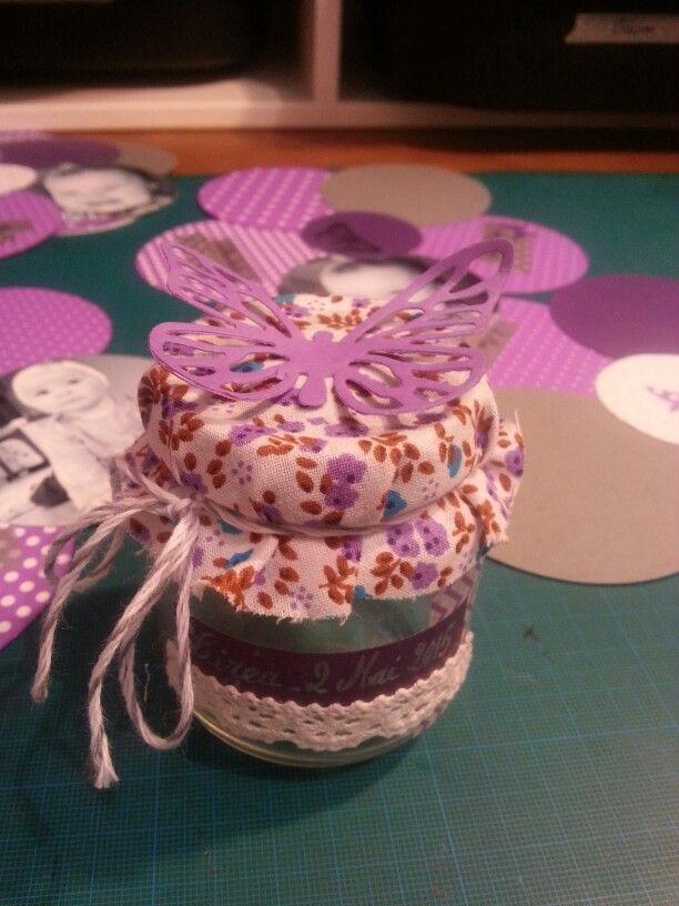 Pot dragees baptême fille Tissu mode&travaux masking tape et baker twin lovelytape decoupe papillon bigshot