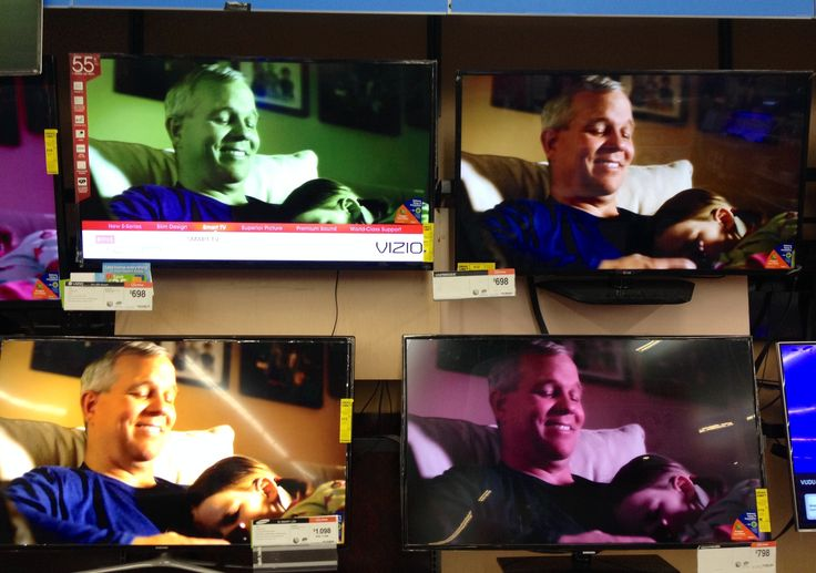 This is how I explain to lawyers that colors look different on different on different computer monitors. Walmart TV display.