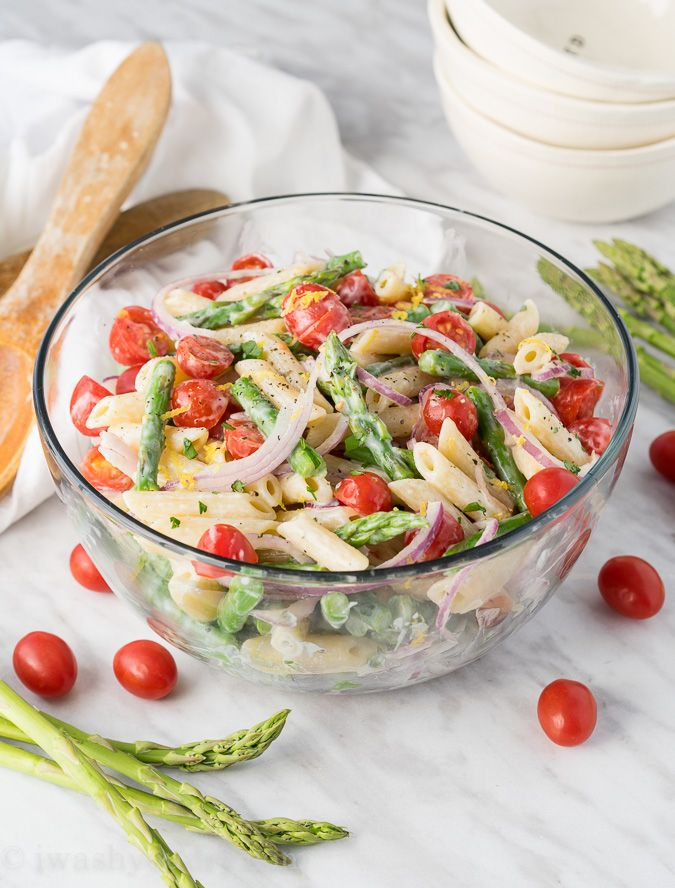 Asparagus Pasta Salad (roast asparagus and use vinaigrette plus Dijon mustard for dressing) ~ I Wash... You Dry