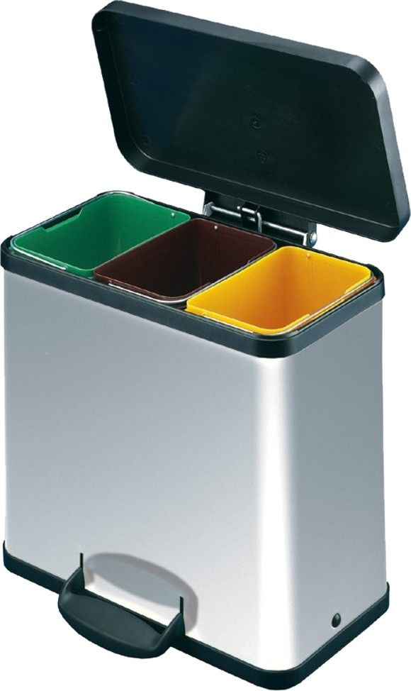 A neat way to seperate waste .Dimensions: Lid Open Height: 540 mm | Lid Closed Height:440 mm | Width 470mm | Depth: 250mm -triple chrome recycling bins - Trio Trento 33 Chrome Recycle Bin from EcoZ.co.uk in Warwickshire, UK