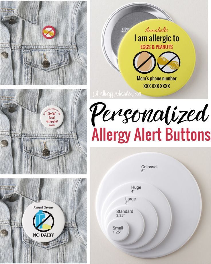 Allergy Alert Buttons for dairy allergy, egg allergy, peanut allergy, nut allergy, multiple allergies, medicine kits and epinephrine carriers. #backtoschool #allergies